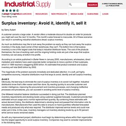 Surplus inventory: Avoid it, identify it, sell it - Industrial Supply Magazine