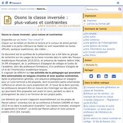 Osons la classe inversée : plus-values et contraintes- Espagnol