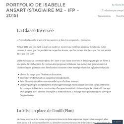 La Classe Inversée – portfolio de Isabelle Ansart (stagiaire M2 – IFP – 2015)