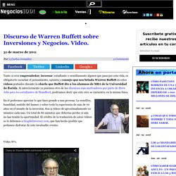 Discurso de Warren Buffett sobre Inversiones y Negocios. Video. - Negocios1000