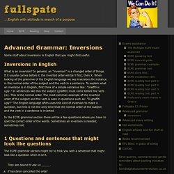 Inversions in English grammar ECPE exam questions