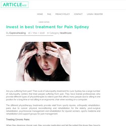 Invest in best treatment for Pain Sydney