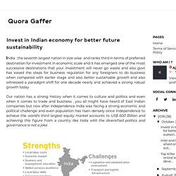 Invest in Indian economy for better future sustainability