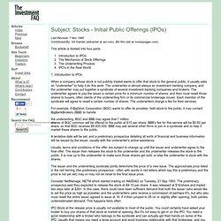 Invest FAQ: Stocks: Initial Public Offerings (IPOs)