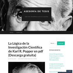 La Lógica de la Investigación Científica de Karl R. Popper en pdf