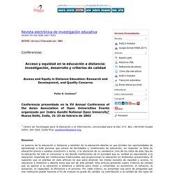 Acceso y equidad en la educación a distancia: investigación, desarrollo y criterios de calidad