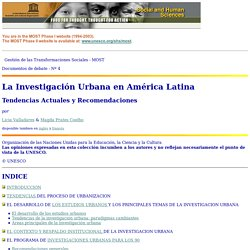 La Investigación Urbana en América Latina - Discussion paper No. 4