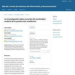 La investigación sobre curación de contenidos: análisis de la producción académica