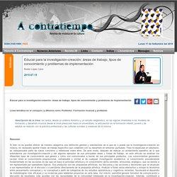 Educar para la investigación-creación: áreas de trabajo, tipos de conocimiento y problemas de implementación
