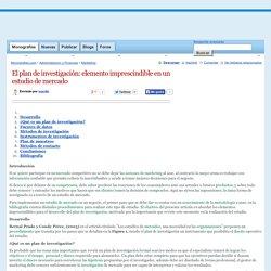 El plan de investigación: elemento imprescindible en un estudio de mercado