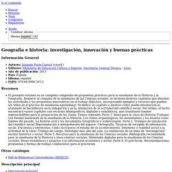 Geografía e historia: investigación, innovación y buenas prácticas