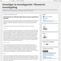 Investigar la investigación / Research investigating: Comparativa de software Open Source para repositorios abiertos