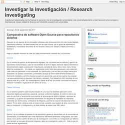 Investigar la investigación / Research investigating: Comparativa de software Open Source para repositorios abiertos