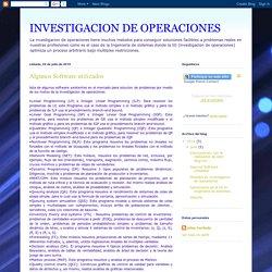 INVESTIGACION DE OPERACIONES: Algunos Software utilizados