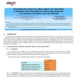 Investigación sobre los altos índices de obesidad y sobrepeso del alumnado de educación primaria y secundaria en Santa Cruz de Tenerife