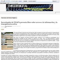 Investigador de USACh presenta libro sobre acceso a la información y la transparencia activa