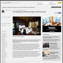 Investigating the Fashion Designer Hotel Concept