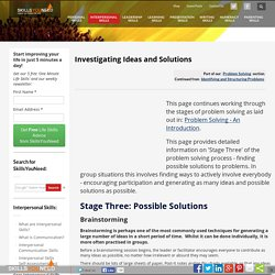 Problem Solving, Investigating Ideas and Solutions