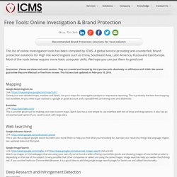 Free Tools: Online Investigation & Brand Protection – ICMS Worldwide