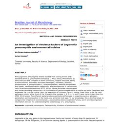 Braz. J. Microbiol. vol.49 no.1 São Paulo Jan./Mar. 2018 An investigation of virulence factors of Legionella pneumophila environmental isolates