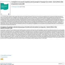 INVS - 2008 - Investigation de cas groupés de giardiose parmi les passagers et l'équipage d'une croisière – Canal du Rhône à