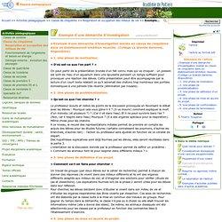 Exemple d'une démarche d'investigation- Sciences de la vie et de la Terre