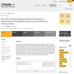 How Does Fiction Reading Influence Empathy? An Experimental Investigation on the Role of Emotional Transportation