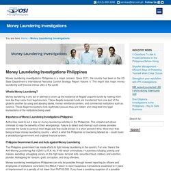 Money Laundering Investigations in Philippines - OSI