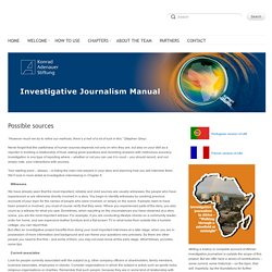 Investigative Journalism Manual - Possible sources