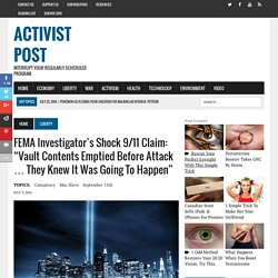 "FEMA Investigator's Shock 9/11 Claim: ""Vault Contents Emptied Before Attack … They Knew It Was Going To Happen"""