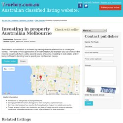 Investing in property Australiaa Melbourne