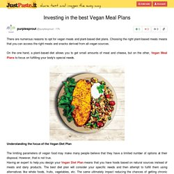 Investing in the best Vegan Meal Plans