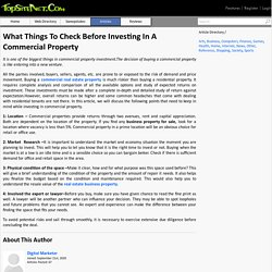 What Things To Check Before Investing In A Commercial Property