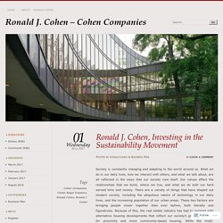 Ronald J. Cohen, Investing in the Sustainability Movement
