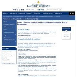 Formation continue Panthéon Sorbonne (FCPS): Master 2 Gestion Stratégie de l'Investissement immobilier & de la Construction