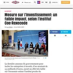 Mesure sur l'investissement: un faible impact, selon l'institut Coe-Rexecode