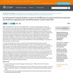 Investissement Canada-Québec de près de 48 M$ dans le projet bonifié de traitement...