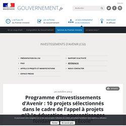 """Programme d'Investissements d'Avenir : 10 projets sélectionnés dans le cadre de l'appel à projets n°3 """"e-éducation - apprentissages fondamentaux à l'École"""""""