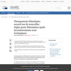PARLEMENT EUROPEEN 17/12/19 Changement climatique: accord sur de nouvelles règles pour déterminer quels investissements sont écologiques