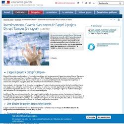 Lancement de l'appel à projets Disrupt' Campus - Le portail des ministères économiques et financiers