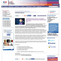 """Investissements d'avenir"" et politique industrielle en Europe (Note d'analyse 236 - Sept. 2011"
