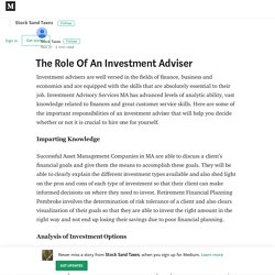 The Role Of An Investment Adviser