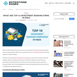 List Of Top 10 Investment Banking Companies in India