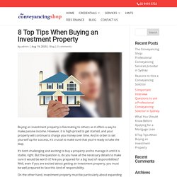 8 Top Tips When Buying an Investment Property