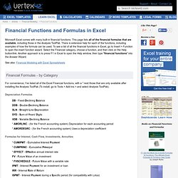 Financial Formulas and Functions in Excel for Investment, NPV, Depreciation, Interest