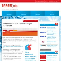 Investment banker – operations: job description