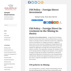 FDI Policy - Foreign Direct Investment - Sample Dissertations
