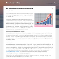 How Investment Management Companies Work