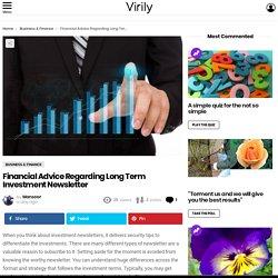 Financial Advice Regarding Long Term Investment Newsletter