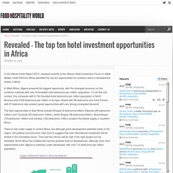 Revealed – The top ten hotel investment opportunities in Africa – The Financial Express